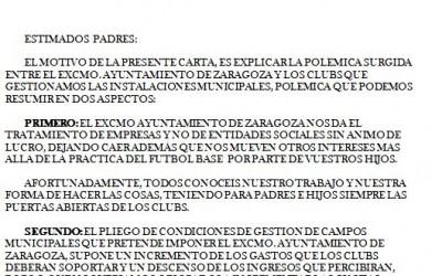 NOTA INFORMATIVA DE LOS CLUBS SOBRE LA PROPUESTA DEL AYUNTAMIENTO PARA LA GESTION DE LOS CAMPOS MUNICIPALES